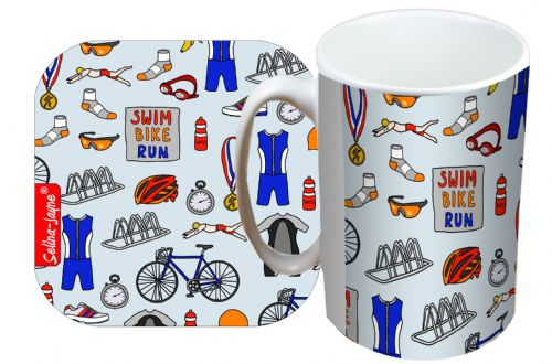 Selina-Jayne Triathlon Limited Edition Designer Mug and Coaster Set